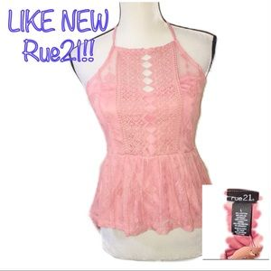 • RUE21 | LIKE NEW | Lace High Low Tank •